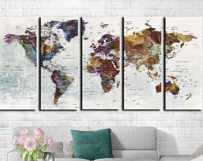Large world map canvas art, World map art, World map canvas, Travel map push pin, World map abstract art print large canvas, world map print