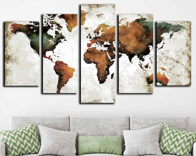 World map split art large canvas print ready to hang, world map decorative art canvas print, travel map canvas art, world map watercolor art