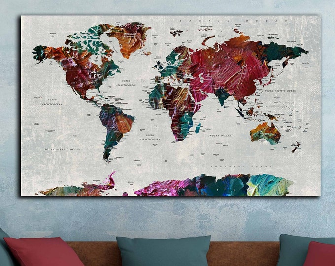 World map art canvas print, world travel map art print, world map push pin, travel map canvas art, world map wall art, push pin map large