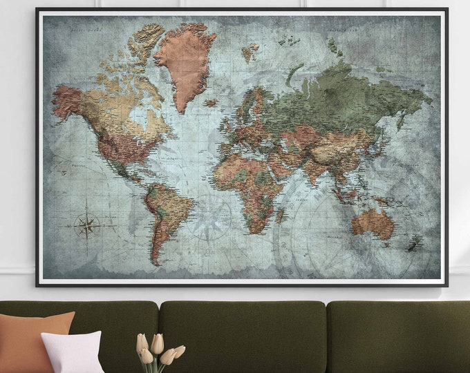World map very detailed vintage art canvas print, world map large canvas print, world travel map, push pin map print, world map large art