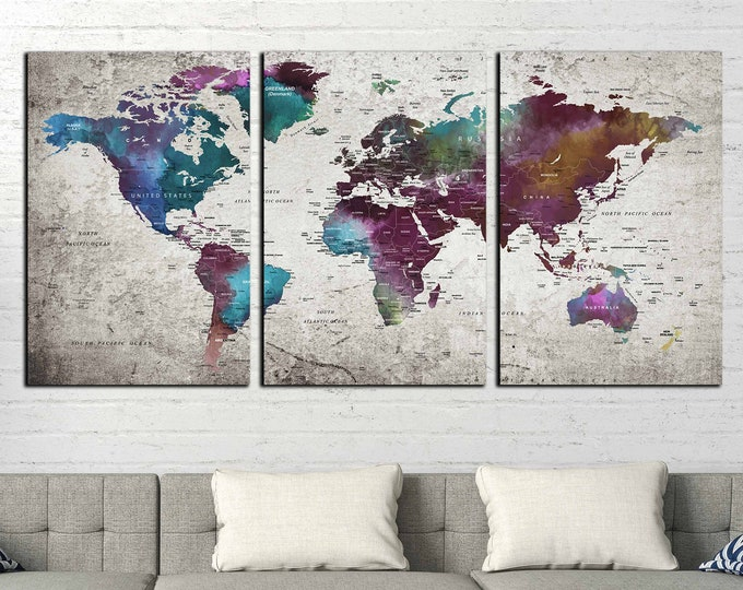 World map canvas art large print ready to hang, Travel map canvas, push pin map canvas, world map large, push pin map, watercolor map art