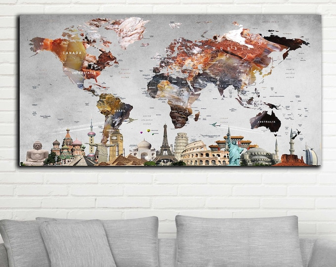 World Map,World Map Wall Art,World Map Canvas,World Map Poster,Travel Map,Push Pin World Map,7 Wonders of the World Map,Large World Map,