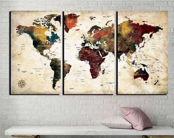 World Map Wall Art,World Map Canvas,Large World Map,World Map Art,World Map,Travel Map,Pushpin Map World Map Abstract,World Map Custom Print