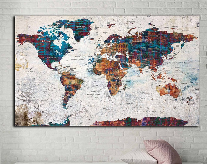 World Map Canvas,World Map Wall Art,World Map,Push Pin map Canvas,World Map Print,World Map Large,World Map Abstract Art, travel map canvas