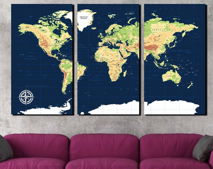Navy Blue Push Pin Map,World Map Wall Art,World Map Canvas,World Physical Map,World Map Travel,Educational World Map,School Map,World Map