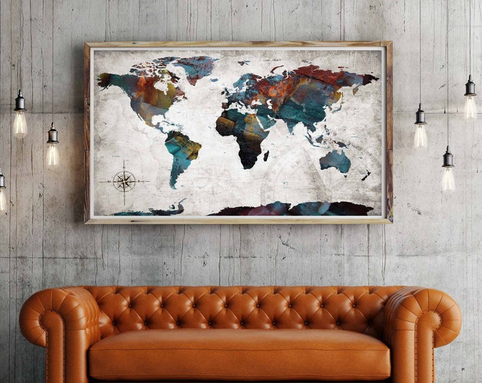What a Wonderful World Poster Print, world map poster, world map art print, push pin map poster, push pin map print, world map detailed, map