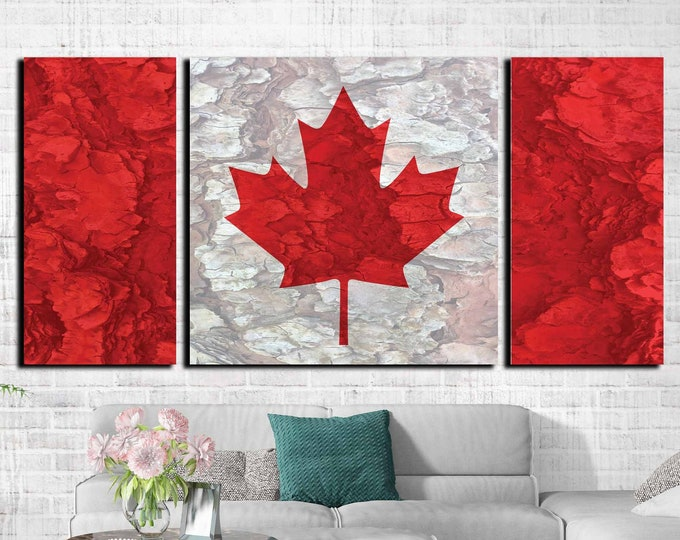 Canada flag,Canada flag art,Canada flag art 3 panel canvas print ready to hang, Canada flag large canvas art, Canada flag print, Canada flag