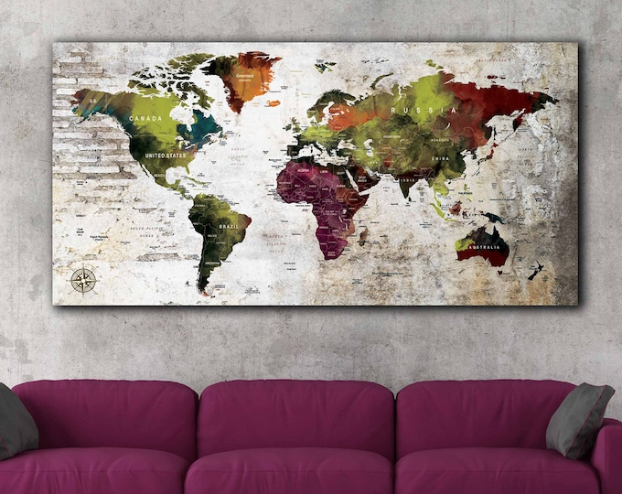 World map, world map wall art, world map push pin, world map canvas print, world travel map, world map art green, world map travel push pin