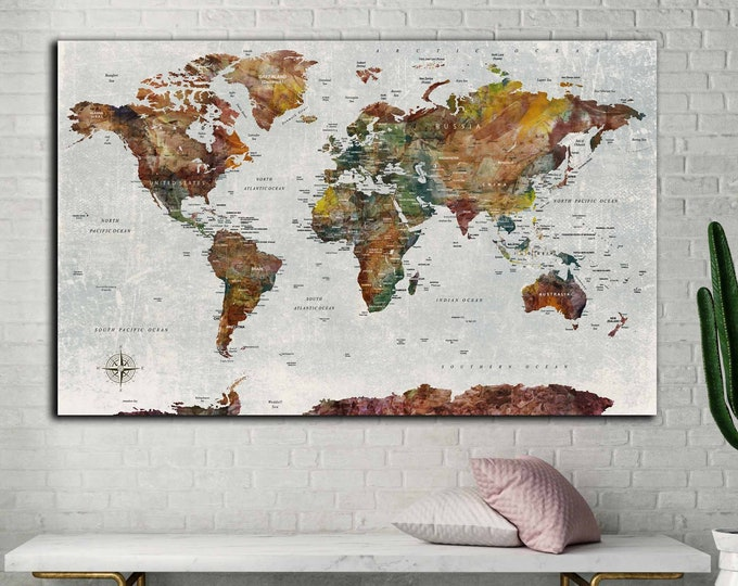 World travel map large single panel canvas print, Push pin map canvas, World map wall art, World map art, Travel map large canvas, World map