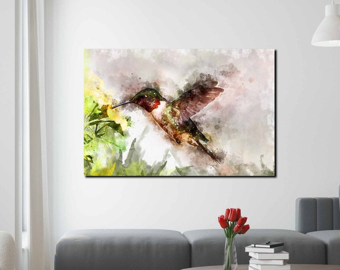 Humming bird art print canvas ready to hang, hummingbird painting watercolor art, hummingbird wall art, hummingbird print abstract art