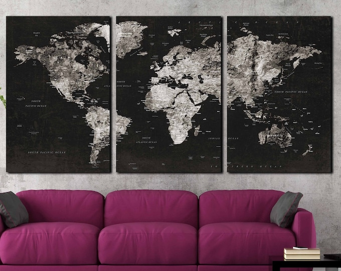 Large black and white world travel map wall art canvas print, push pin map large print, world map art, world map print, travel map canvas