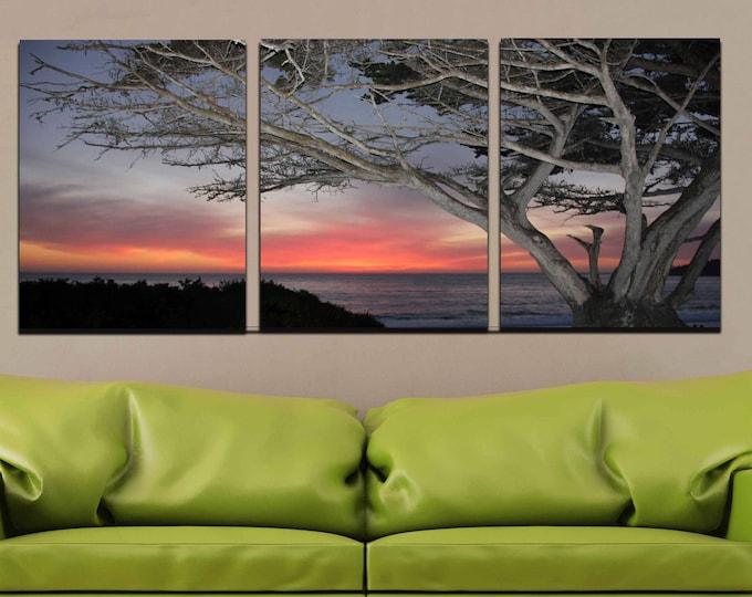 Beach Wall Art,Sunset Canvas Print,California Beach, Sunset Wall Art,Ocean Sunset,Pacific Cost Sunset,Beach Sunset Tree,Photography Print