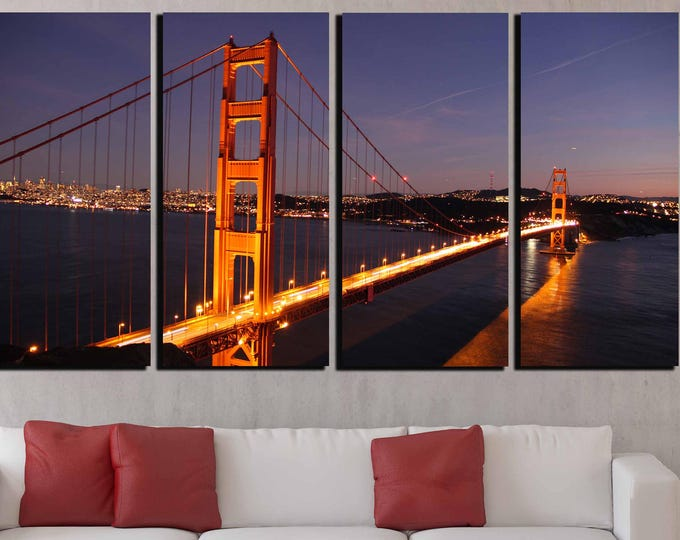 Golden Gate Bridge,Golden Gate Wall Art,San Francisco Wall Art,Golden Gate Canvas Print,Golden Gate Bridge  Art,Golden Gate night,Sunset Art