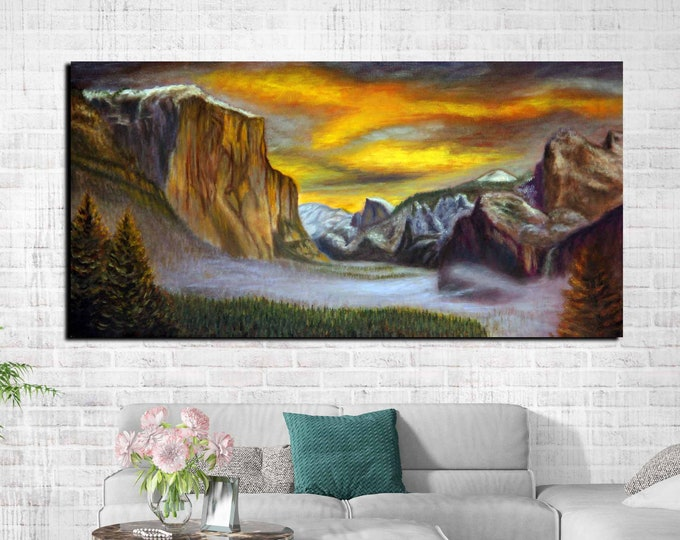 Yosemite Painting,Yosemite Large Canvas Art,Yosemite Oil Painting,Yosemite Wall Art,Landscape Oil Painting,Yosemite Wall Art,Yosemite Art