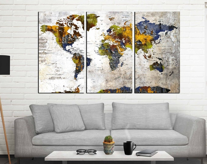 World map wall art, world map large, world map canvas, world map art, world map large canvas, push pin map large, travel map print, abstract