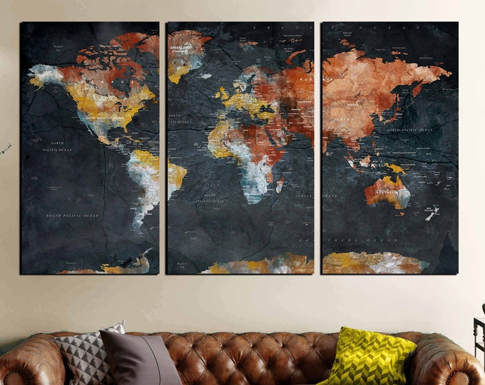 world map wall art canvas print, push pin map 3 piece canvas art print, world map canvas, world map print, world map art print, large map