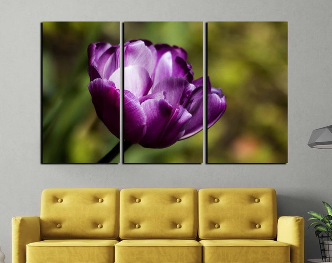 Tulip art, tulip wall art, purple tulip wall decor, home decor, floral home decor, tulip art canvas print, Christmas gift ideas, decorative