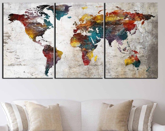 world map large wall art canvas print, world map art, world travel map canvas, push pin map, abstract world map print, push pin map travel