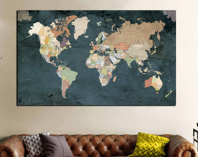 Highly detailed world map art, world map wall art, world map large, world map canvas, world map print, world map detailed, push pin map, map