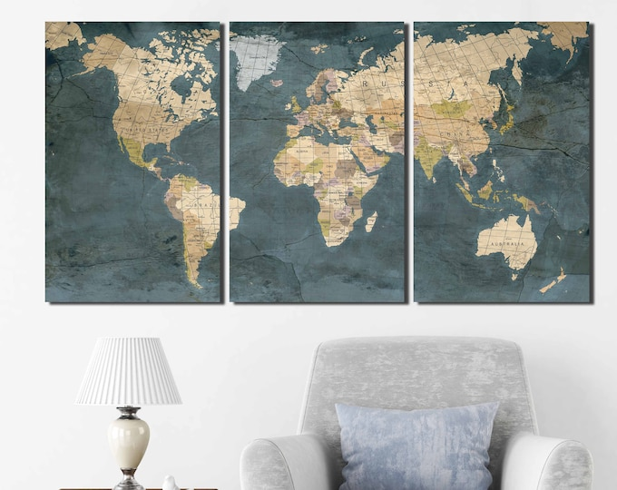 Large Vintage World Map Push Pin Wall Art Canvas Print - Extra Large Travel Map Push Pin Wall Art Canvas Print - World Map Wall Art Canvas