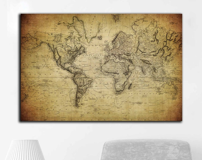 Vintage 1814 world map canvas panel ready to hang, world map vintage art, world map wall art, rustic world map, antique world map canvas