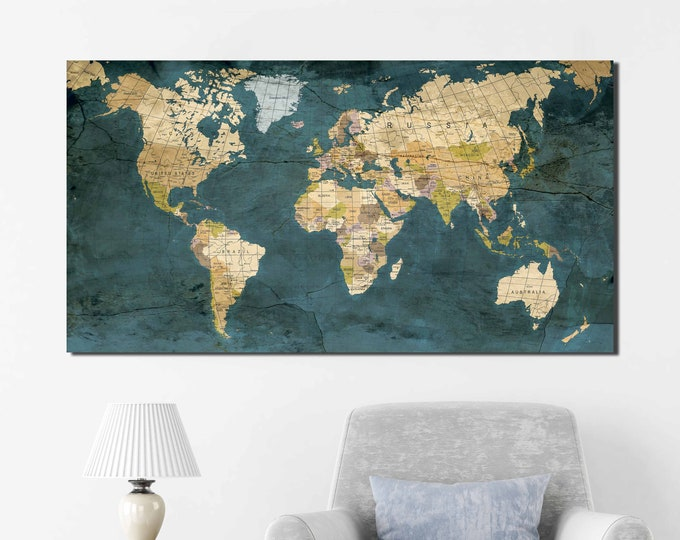 World Map,World Map Wall Art,World Map Canvas,Large World Map Art,Vintage World Map,World Map Wall Decor,Travel Map,Push Pin Map,Map Art