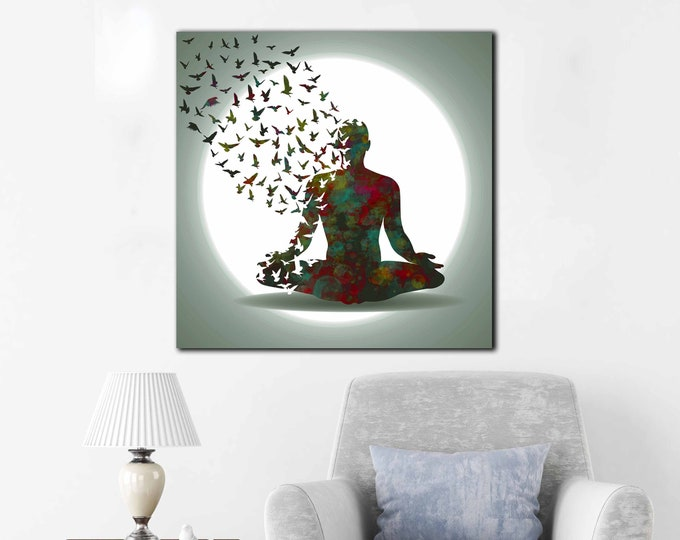 Yoga art, yoga wall art, yoga canvas print, yoga decor, yoga watercolor art, yoga print, yoga wall decal, yoga wall sticker, yoga canvas art