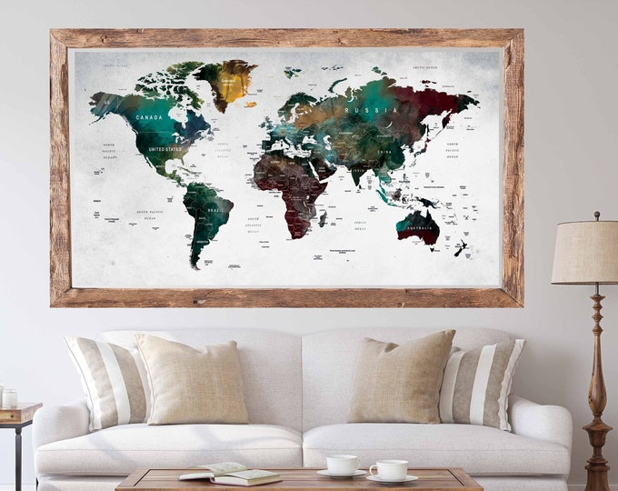 World Map Poster Print,World Map Large Poster,World Map Art Poster,World Map Decal,World Map Wall Decal,World Map Push Pin,Travel Map Poster