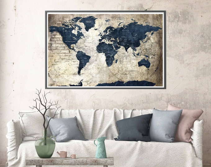 World map poster, world map vintage, world map print, push pin map poster, world travel map, travel map poster, world map art, map poster