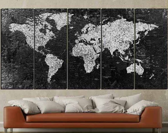 World Map, Large Black and White World Map,,World Map Canvas, Abstract World Map, World Map Wall Art,World Map Art, Black and White Map Art