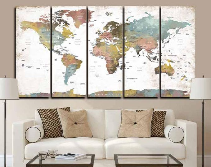 Large 5 Panel World Map Wall Art,World Map Push Pin,Large Pushpin Map,Pushpin Map Canvas,Pushpin Map Art,World Map Art,Travel Map Canvas Art