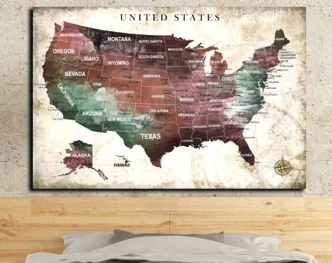 US Map,US Wall Map,US Wall Art,United States Map Art,America Map,Us Push Pin Map,Abstract Travel Map,United States Canvas Map,Us Map Poster