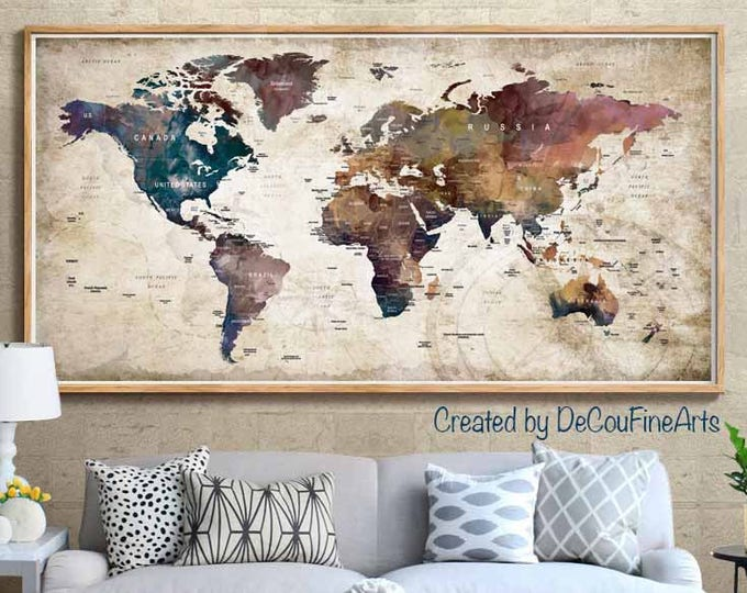 Large World Map Poster Print,World Map Wall Art,World Map Art Print,World Map Print,World Map Vintage,World Map Push Pin,World Map Decal,Map