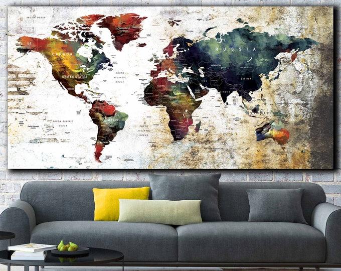 World Map Large,World Map Canvas,World Map Wall Art,Custom Travel Map,Push Pin Map Canvas,Travel Map Art,Push Pin Map Canvas,World Map Art,