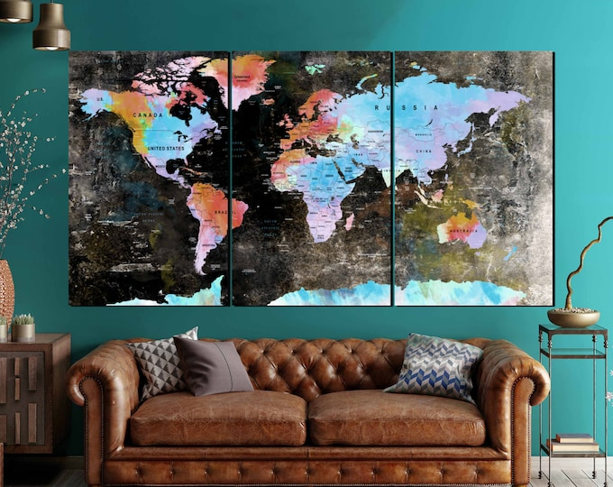 Large World Map Vintage Canvas Panels,World Map,World Map Wall Art,World Map Canvas,World Map Print,World Map Abstract Watercolor Art,Decor