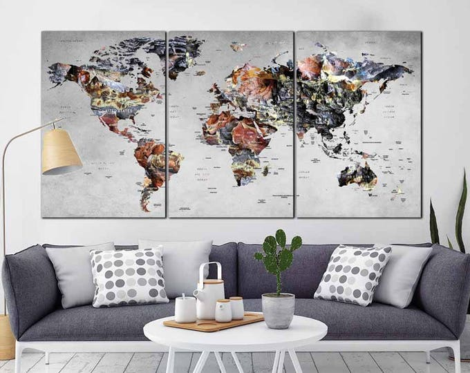 World Map Wall Art,World Map Canvas,Large World Map,Large Map Canvas,World Map Abstract Art,Large Travel Map,World Map Push Pin,World Map