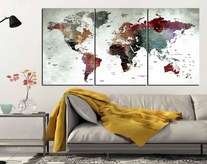 World Map Canvas,World Map Art,Large World Map,Watercolor World Map,World Map Wall Art,World Map Panels,Push Pin World Map,Travel Map Canvas