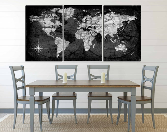 World Map Black and White Wall Art,World Map Canvas Print,Abstract Watercolor Map,Large Abstract Art,World Map Watercolor Art,Abstract map