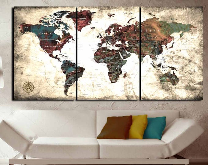 Large World Map Canvas Wall Art,World Map Wall Art,World Map Canvas,Large World Map,World Map Vintage Canvas,World Map Print,Push Pin Map