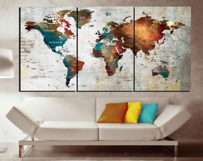 Push Pin Map Canvas Wall Art,3 Piece Canvas World Map,World Map Wall Art,World Map Canvas Print,World Map Abstract Art,Word Map Art Print