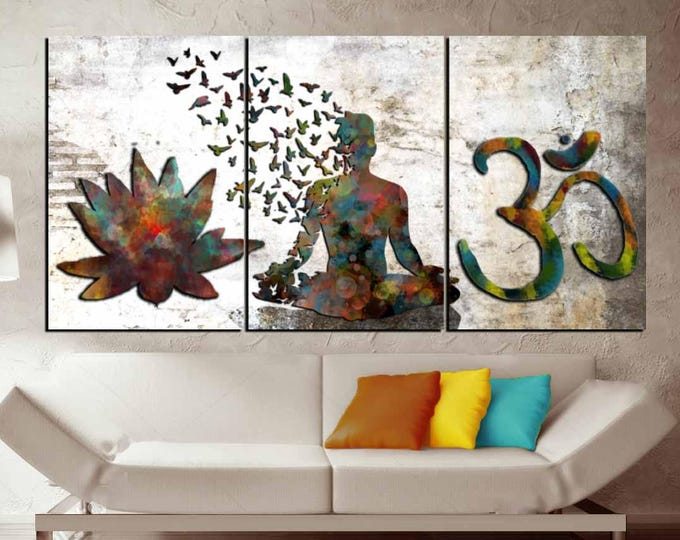 3 Panel Watercolor Buddha Wall Art,Yoga Canvas Art Print, Buddha Om Symbol Watercolor Large, Buddha Yoga Art Print, Lotus Large Canvas Print