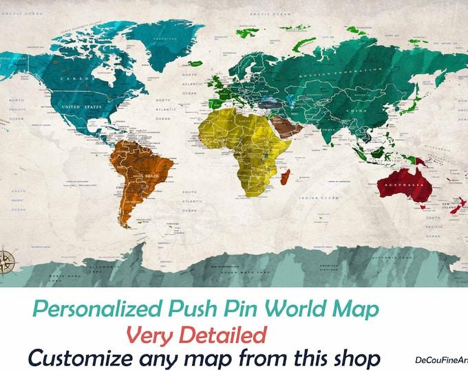 World Map,Push Pin World Map,Detailed World Map,World Map Canvas,World Map Art,Push Pin Map Art,Travel Map,Push Pin Map,World Map Print,Map