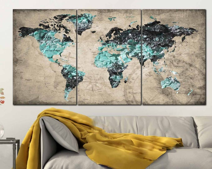 Textured World Map,Textured Map Art,World Map Wall Art,World Map Canvas,World Map Art,,Blue World Map,Large World Map,Vintage World Map,