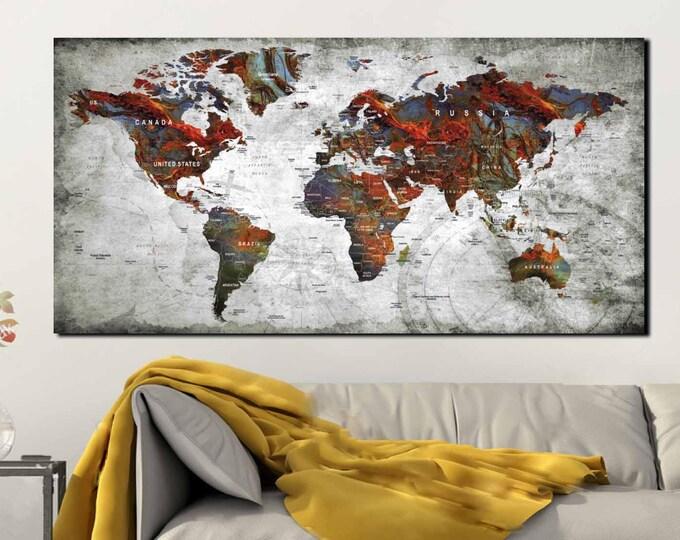 World Map Canvas Panel Push Pin Map Art,Large World Map Canvas,World Map Push Pin,Push Pin Map Canvas Panel,World Map Canvas Print,World Map