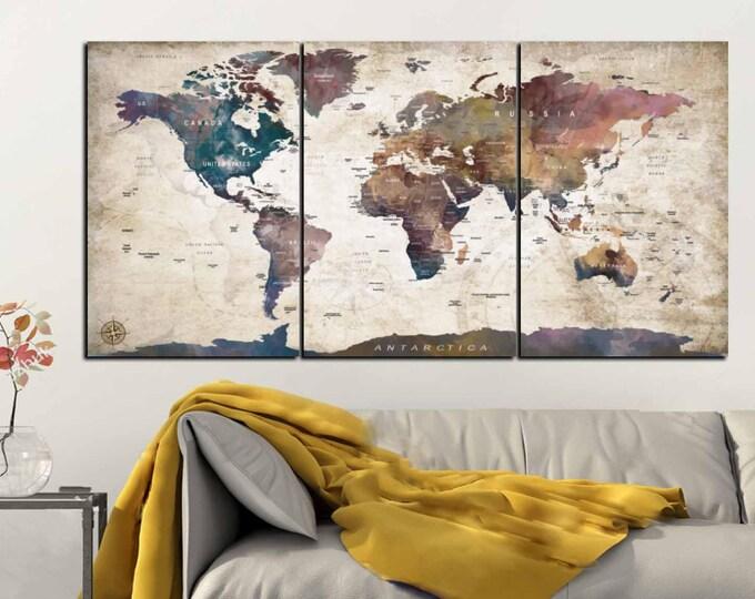 World Map Canvas Art Panels,World Map Wall Art,World Map Watercolor Art,Push Pin Map Art,Travel Map Canvas,World Map Art Print,World Map Art