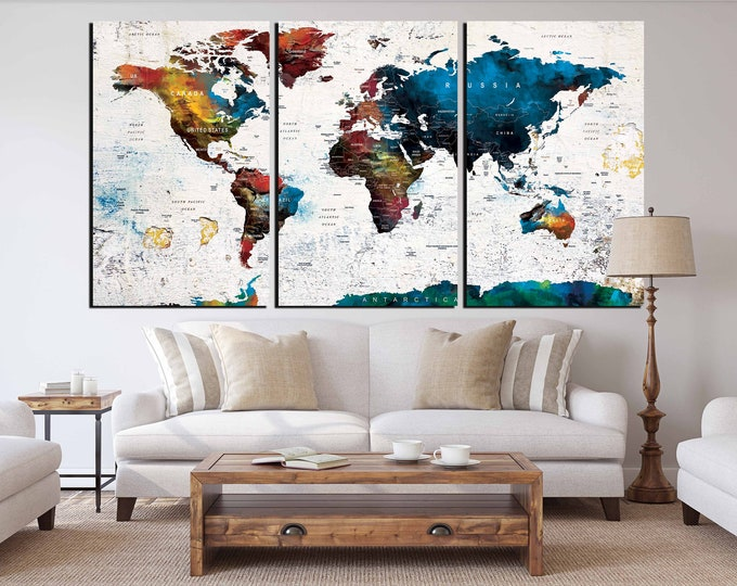 World Map Canvas Art Ready to hang, World Map,Large World Map,World Map Push Pin,World Map Print,World Map Art,World Map Panels,Travel Map