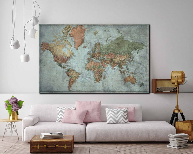 World map large single panel push pin map, vintage travel map, world map wall art, travel map push pin, world travel map detailed art print
