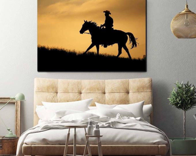 Cowboy Art, Cowboy Wall Art,Western Art,Cowboy Wall Art Canvas,Cowboy Art Print,Cowboy riding a horse, Western Art Canvas Print, Cowboy