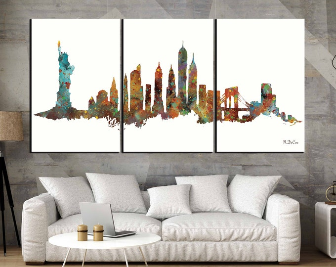 New York Skyline Watercolor Art Large Canvas Print,New York Art,New York Skyline,New York Art Print,New York Watercolor Art Canvas Print