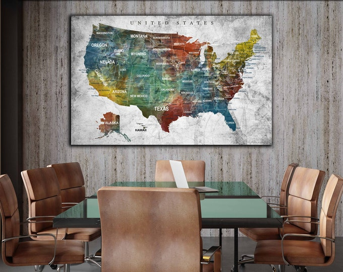 US map art, US map canvas, US push pin map, United States map, United States map art canvas print, Us map print, Us travel map, America map